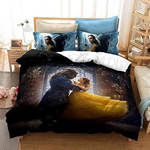 ZYYCPKS Bella Cenicienta Rapunzel Princesa Ropa de cama para niñas, funda nórdica de 135 x 200 cm + funda de almohada, microfibra, ropa de cama infantil 3DCartoon (A8,155 x 220 cm + 75 x 50 cm x 2)