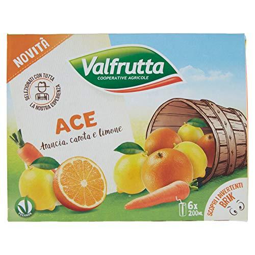 Valfrutta Ace Succo di Arancia, Carota e Limone, 6 x 200ml