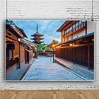 Qinunipoto 背景布 和風の町 写真撮影用 和風 背景 和風背景 撮影 写真の背景 ポリエステル 洗濯可 日本の通り 夜のストリートビュー 黄色の街灯 写真背景 旅行写真の背景 写真撮影用の背景幕 撮影用 2.1x1.5m