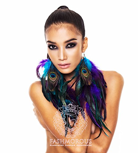 Fashmorous Peacock Feather Earrings Long Feather Earrings for Women Feather Earrings Purple