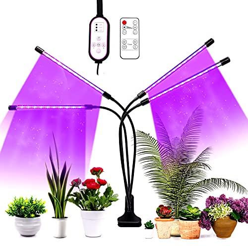 Homease Lámpara LED para plantas, 80 ledes, 4 cabezales, luz para plantas, 3 modos, 10 niveles, temporizador 4/8/12H, para jardines, plantas en maceta, plantaciones