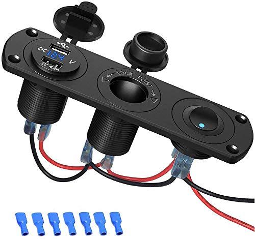 Dubbele USB-aansluiting paneel 250W 12V sigarettenaanstekersplitter met LED-display en onafhankelijke schakelaar voor auto-boot-marine