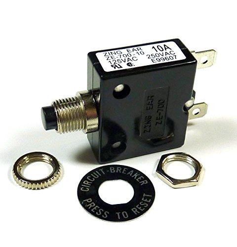 Philmore 10 Amp Push Button Manual Reset Thermal Circuit Breaker 50V DC, 250V AC