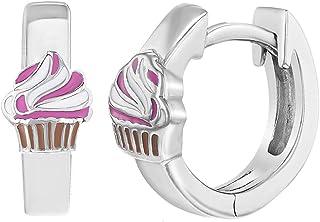 "925 Sterling Silver Enamel Cupcake Hoop Huggie Earrings for Little Girls 0.39"""
