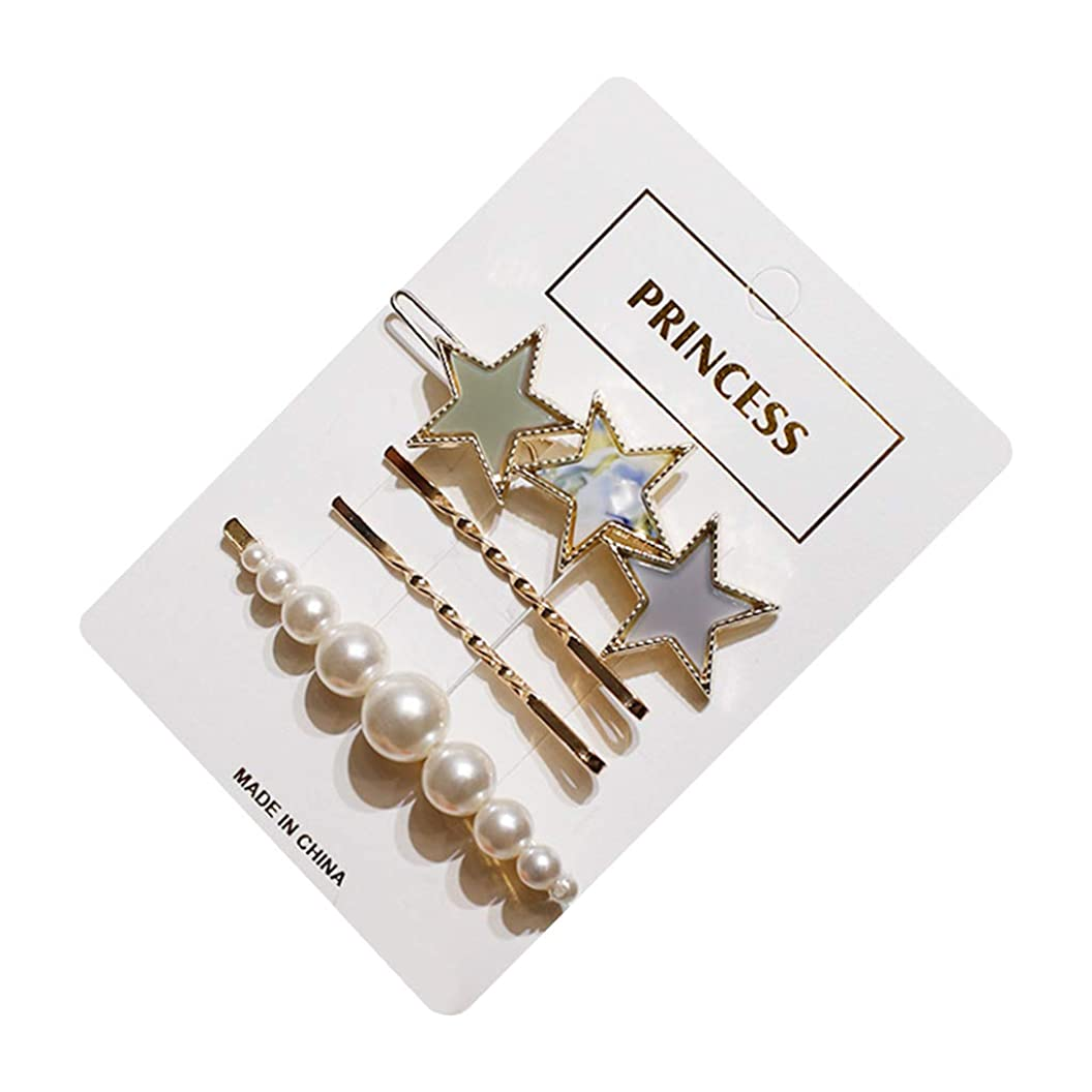 噛む物理的に重さKimyuo4ピース/セット女性金属合金スパイラルヘアクリップ五芒星酢酸カエルボビーピン模造真珠ビーズ一単語バレッタ