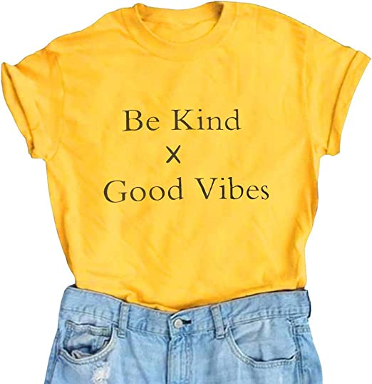 Vatolily Women Good Vibes Be Kind Cute Graphic Tee Tshirts Short Sleeve Junior Tops