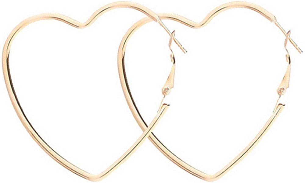 Yukhins Women Girls Stainless Steel Hoop Geometric Heart Triangle Hook Simple Fashion Earrings(Heart55Gold)