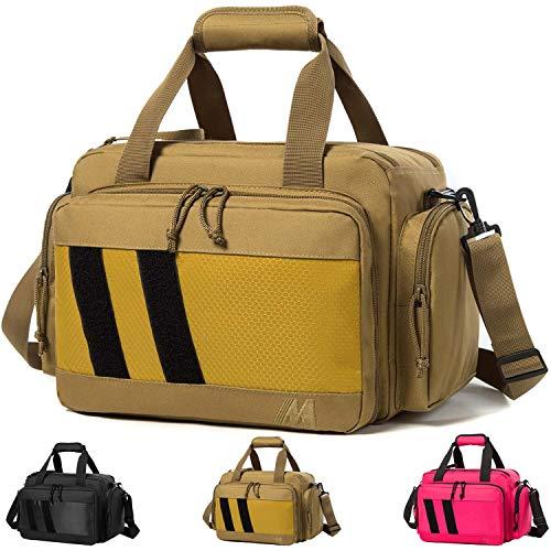 MERALIAN Range Bag -Tactical Gun Range Bag for Handguns,Pistols and Ammo.Padded Shooting Range Duffle Bag for Hunting Shooting Range Sport. (Khaki)