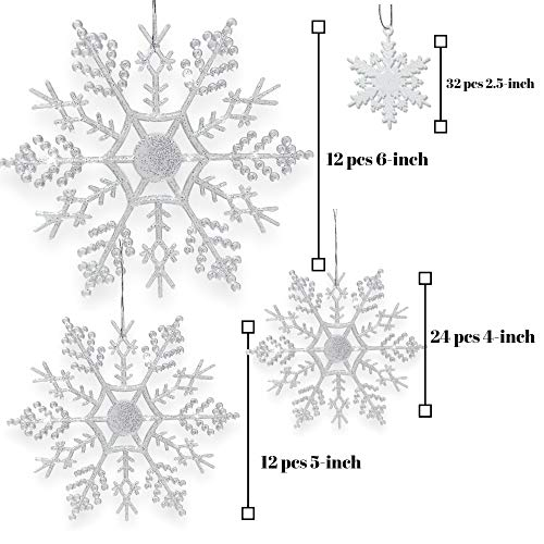 """BANBERRY DESIGNS Snowflake Christmas Ornaments - Set of 80 Snowflakes - 2"""" D White Snowflakes - 4"""" D Clear Iridescent Snowflakes - 5"""" D Clear Iridescent Snowflakes - 6"""" D Clear Iridescent Snowflakes"""