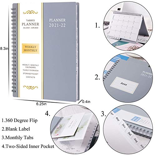 """Product Image 2: 2021-2022 Planner – Jul 2021- Jun 2022, 6.25"""" × 8.3″, Academic Planner 2021-2022 with Weekly & Monthly Spreads, Strong Twin-Wire Binding, Round Corner, Improving Your Time Management Skill"""