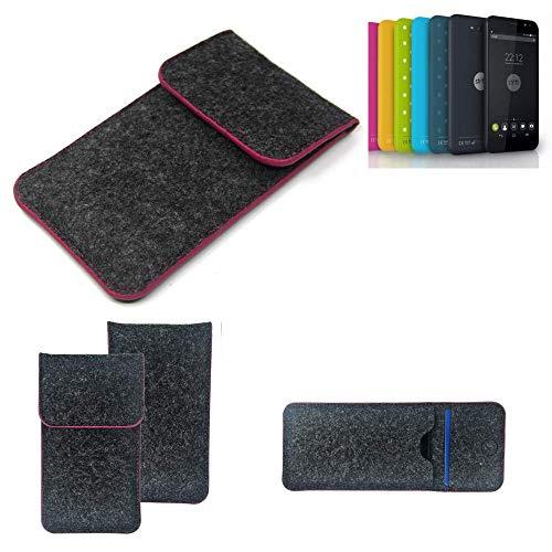 K-S-Trade® Filz Schutz Hülle Für Shift Shift4.2 Schutzhülle Filztasche Pouch Tasche Case Sleeve Handyhülle Filzhülle Dunkelgrau Rosa Rand