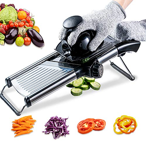 Mandoline Slicer with Protective Gloves -VEKAYA, Slice Julienne for Cheese Carrot Potato Chip Onion French Fry,  Efficient Kitchen Cutter Chopper for Vegetable Time Saver