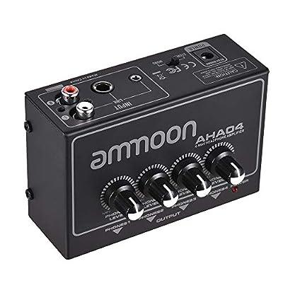 ammoon Headphone Amplifier Portable 4-Way Headphone Amplifier Amp with 1/4 inch & 1/8 inch Inputs Outputs RCA Stereo Input Volume Control AHA04 by Ammoon