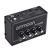 ammoon Ultra Compacto 4 Canales Mini Audio Estéreo Amplificador de Auriculares con Adaptador de Corriente, Mono y Dual con Entrada y Salida de 1/4 y 1/8 de Pulgada