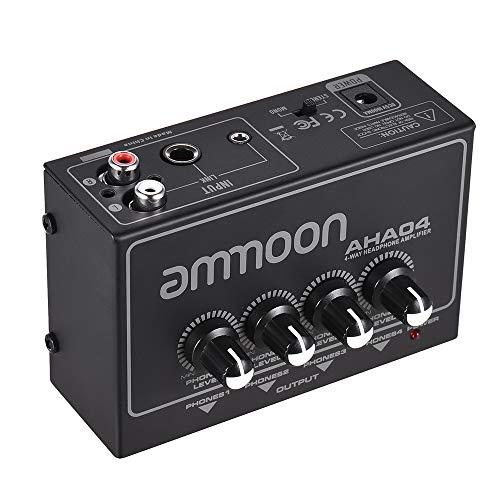 ammoon Amplificatore per Cuffie, Portatile Headphone Amp 4 Canali 1 4 1 8 Pollice Ingressi Uscite RCA Stereo Ingresso Controllo del Volume