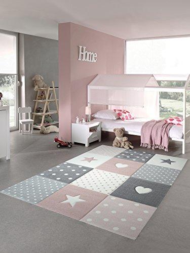 Kinderteppich Spielteppich Teppich Kinderzimmer Babyteppich mit Herz Stern in Rosa Weiss Grau Größe 160x230 cm