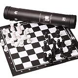 Nuevo Chessex Viaje Ajedrez Set con alta gama de cuero tablero de ajedrez hombro Strapblack y blanco piezas de ajedrez portátil conjunto en llevar tubo de ajedrez regalo