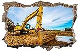 Bagger Feld Baustelle Bau Maschine Wandtattoo Wandsticker Wandaufkleber D1225 Größe 70 cm x 110 cm