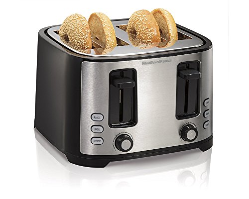 Hamilton Beach 4 Slice Extra Wide Slot Toaster with Defrost and Bagel Functions, Shade Selector, Toast Boost, Auto-Shutoff and Cancel Button, Black (24633)