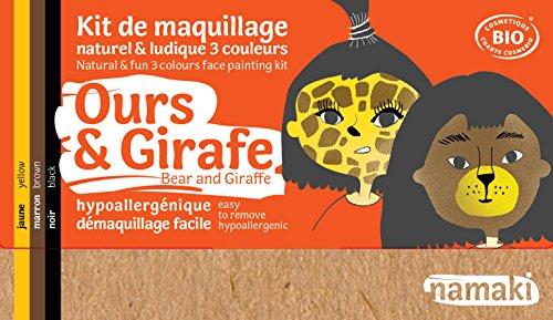 Namaki- Kit 3 Couleurs Ours & Girafe Bio & Vegan, 110015, Jaune, Marron, Noir