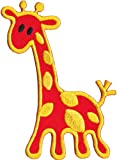 Animals Animales Orange naranja Giraffe Jirafa Animal Patch, Officially Licensed Artwork, Iron-On/Sew-On, 2.63' x 3.75' Embroidered PATCH PARCHE
