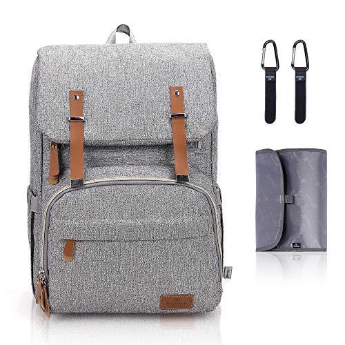 Hafmall Wickelrucksack mit Kinderwagen Haken und Wickelauflage, Große Wasserdichte Baby Wickeltasche mit Laptopfach und 3 Isolierte Taschen, Multifunktional Reiserucksack