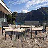 Patio Furniture Sets 6-Piece Outdoor Sectional Bistro Table Set with Seat Cushion Wicker Rattan Chair for Home Balcony Poolside (Black)