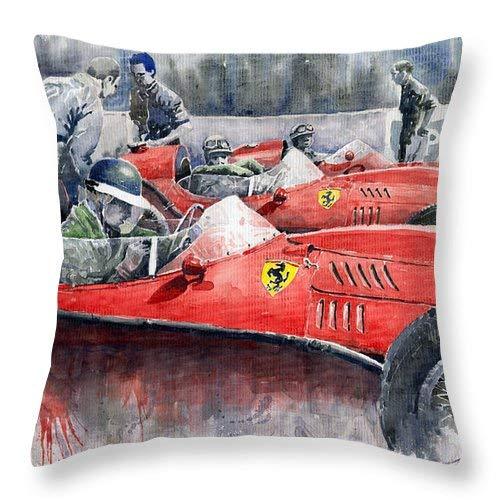 Lplpol Ferrari Dino 246 F1 1958 Mike Hawthorn French GP - Federa per cuscino in cotone e lino, 16 x 16 cm