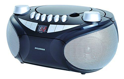 Sylvania Portable Cassette, CD, AM FM Radio Boombox, with Cassette Player (SRCD286)