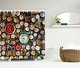 LAundNA Uhren Dekor 180 x 180 cm Duschvorhang & Ringe Set Hochwertige Duschvorhang mit 12 Haken, Knickenten , 150*180