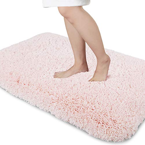 Yimobra Premium Plush Bathroom Rug Non Slip Fluffy Bath Mat,Incredibly Soft Comfortable, Extra Thick, Water Absorbent, Shaggy Floor Mats (31.5 x 19.8 Inches, Pink)