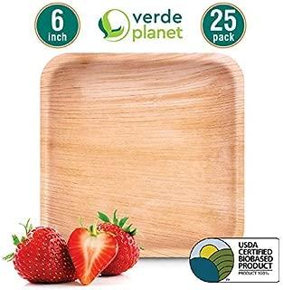 Verde Planet - 6 inch square Palm Leaf Plates - Biodegradable, Ecofriendly, Disposable, Sturdy, Elegant, Premium Quality Plates, USDA Certified - 25 Count