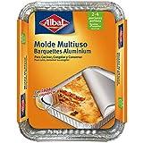Albal Aluminio 22x17x3,5 Centímetros con Tapa | Desechables | Hornear, Congelar y Conservación de Alimentos | 2-4 Porciones | 3 Moldes