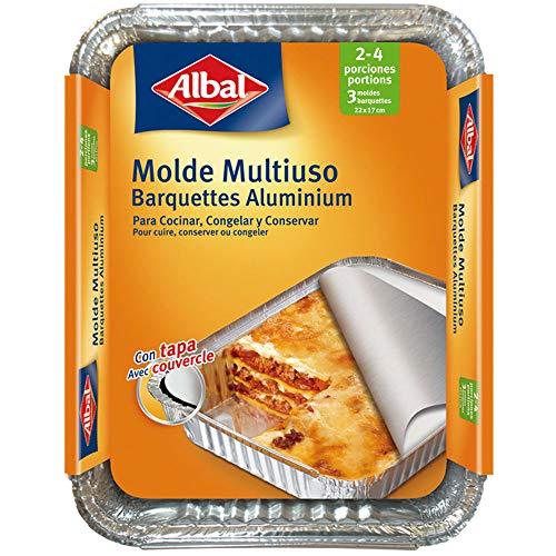 Albal Aluminio 22x17x3,5 Centímetros con Tapa | Desechables | Hornear, Congelar y Conservación de...