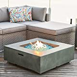 COSIEST Outdoor Propane Fire Pit Coffee Table w Square Faux Stone 35-inch Planter Base, 50,000 BTU Stainless Steel Burner, Free Lava Rocks and Rain Cover, Metal Lid (Celadon)