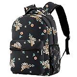 Mochila ligera para la escuela, de moda, con dibujos animados, Koala, bolsa de libro floral para estudiantes de primaria, secundaria, universidad, casual, mochila
