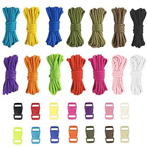 ManLee 28pcs Paracord Schnur 4mm Paracord Seil 14 Farben Paracord Armband mit 14 Schnalle Paracord Bänder Set für DIY Armbänder Schlüsselanhänger Hundeleinen Zeltseil