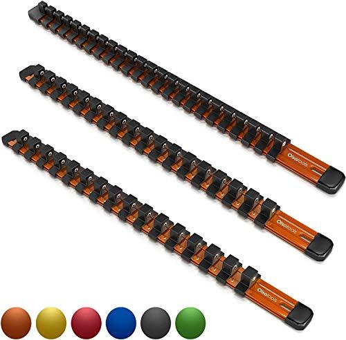 Olsa Tools 1/2-Inch, 3/8-Inch & 1/4-Inch Drive Aluminum Socket Organizer | Professional Quality Socket Holder (Orange)