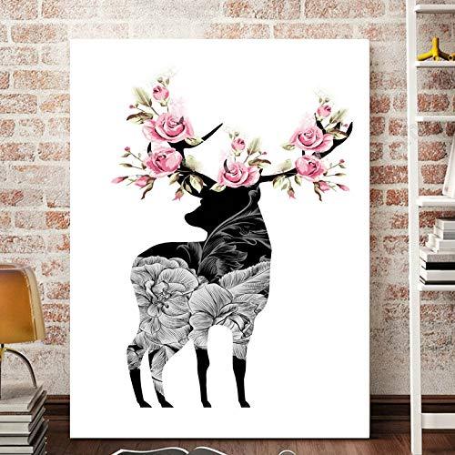 Zwart-wit-hert met bloem canvas woonkamer kinderkamer Nordic wand poster kunstdruk canvas muurschildering zonder lijst schilderij 40x65cm