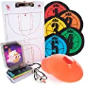 Hot Shots Basketball Coaching Essentials Bundle - Starter Kit Includes 64 Drill Cards, 5 Spot Markers, Coaching Clipboard, 12 Floor Cones & Pea Whistle with Lanyard - Sports Equipment for Coaches