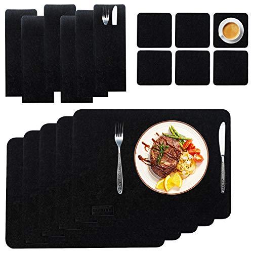 Saltibo - Salvamanteles (18 piezas) Juego de manteles individuales de fieltro, color antracita, antideslizantes, lavables, para cocina y comedor, color gris oscuro