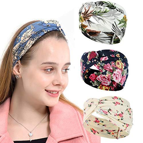 K-Elewon 4 Pack Women Wide Elastic Turban Head Wrap Headband Sports yoga Running Hair Band (4 Pack(AC07))
