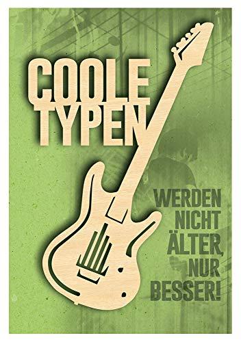 KE - Geburtstagskarte für Männer - Geburtstag Karte mit tollem Holzteil (Gitarre) und Innendruck - Format DIN B6 - inkl. Umschlag - Motiv: Gitarre