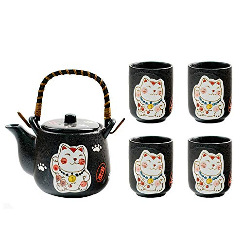Servizio da tè in Ceramica in Stile Giapponese,Set da tè per la casa del Gatto Fortunato Dipinto a Mano, Una Teiera e Quattro Tazze
