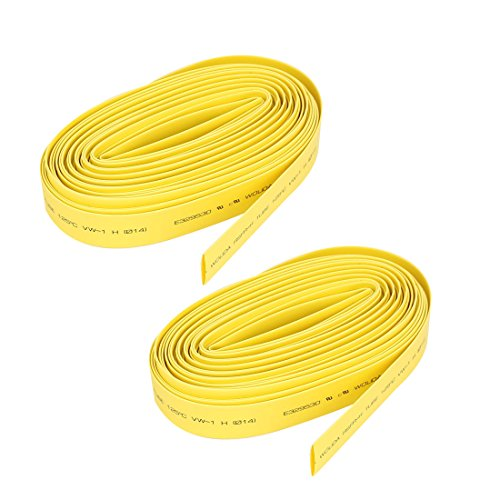 Aexit 2:1 Heat Shaft Collars Shrink Tubing Shrinkable Tube Wrap 14mm Dia 10M Heat Shrinkable Shaft Collars 2pcs Yellow