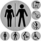immi WC-Schilder-Set, 8 Toiletten-Aufkleber, Moderne Zeichen, 95mmØ