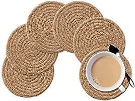PartyStuff Jute Hand Braided Rustic Vintage Tea Coaster for Dining Table, Bedside Table, Tea Coaster, Chatni mat,...