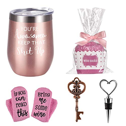 Wine Tumbler Cupcake Wine Socks Gift Set, Birthday Christmas Gift for Her Women Girlfriend Lover Girls, You're Awesome 12 Oz Stainless Steel Wine Tumbler with Lid, Socks, Bottle Opener, Wine Stopper