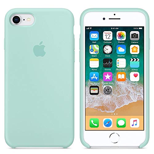 Coque pour iPhone 7/8,Coque Silicone Liquide avec Doux Microfibre Coussin Doublure Cover,Housse Etui de Protection Anti Choc Gel Case pour iPhone 7/8 (iPhone 7/8, Vert Marin)