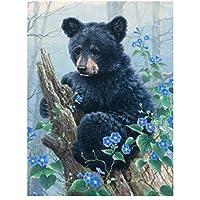 油絵 数字キットによる絵画 塗り絵 大人 手塗り 黒熊動物 DIY絵 デジタル油絵 40x50cm (diyの木製フレーム)